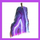 Purple & Blue Freeform AGATE Slice Gemstone 10k Yellow Gold Pendant