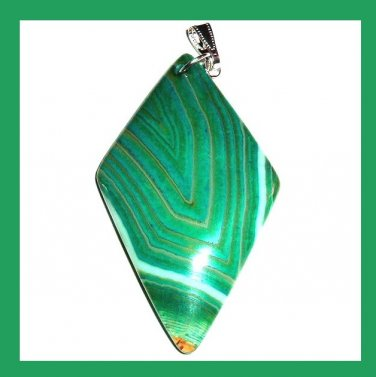 Green ONYX Kite Shaped Trapezoid Gemstone 925 Sterling Silver Pendant