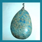 OCEAN JASPER Blue Teardrop Pear Cut Gemstone 925 Sterling Silver Pendant