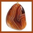 Brown & White Striped AGATE Freeform Gemstone 10k Yellow Gold Pendant