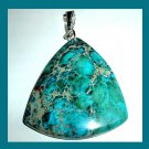 JASPER & PYRITE Blue Teal Gold Triangle Trillion Cut Gemstone 925 Sterling Silver Pendant