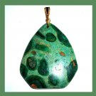 OCEAN JASPER Light & Dark Green Triangle Gemstone 10k Yellow Gold Pendant