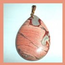 PICTURE JASPER Pink Gray Red Teardrop Shaped Gemstone 10K Yellow Gold Pendant