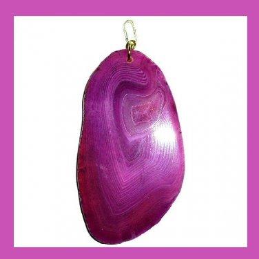 Dark Purple AGATE Oval Slice Gemstone 925 Sterling Silver Pendant