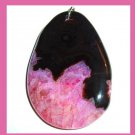 Black & Pink QUARTZ & AGATE Oval Gemstone Sterling Silver Pendant