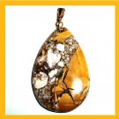 OCEAN JASPER Yellow Brown White Teardrop Gemstone 10k Yellow Gold Pendant