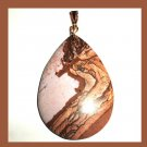 PICTURE JASPER Brown & White Teardrop Pear Cut Gemstone 10K Yellow Gold Pendant