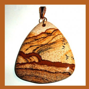 PICTURE JASPER Hills & Valleys Brown & White Triangle Gemstone 10K Yellow Gold Pendant