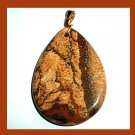 Shades of Brown PICTURE JASPER Teardrop Pear Cut Gemstone 10K Yellow Gold Pendant