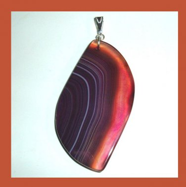 Brown & Purple ONYX Gemstone Freeform Shaped 925 Sterling Silver Pendant