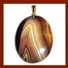 Brown & White Striped AGATE Oval Cut Gemstone 10K Yellow Gold Pendant
