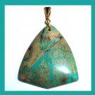 Blue & Brown SNAKE SKIN JASPER Gemstone Triangle Shaped 10k Yellow Gold Pendant