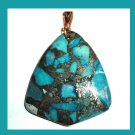 Blue JASPER & PYRITE Triangle Shaped 10k Yellow Gold Pendant