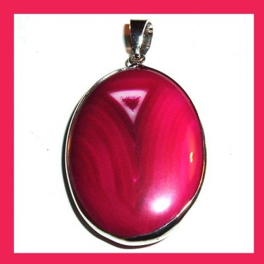 Sterling Silver Wrapped Red AGATE Oval Cut Gemstone Pendant