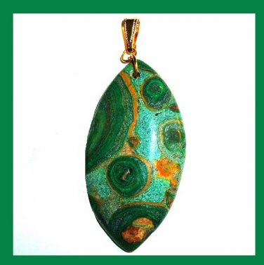 Green OCEAN JASPER Football Shaped Marquise Gemstone 10k Yellow Gold Pendant