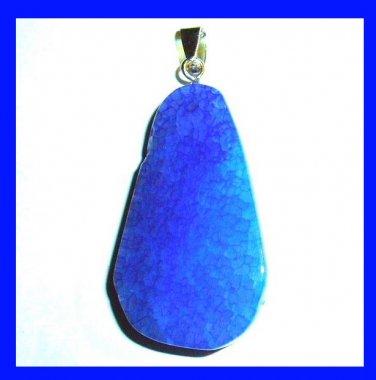 Blue Crackle QUARTZ Teardrop Shaped Gemstone Sterling Silver Pendant