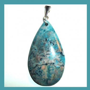 Blue & Black CRAZY LACE AGATE Teardrop Shaped Gemstone 925 Sterling Silver Pendant