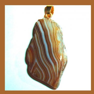 Brown & White Striped AGATE Freeform Gemstone 10k Yellow Gold Pendant