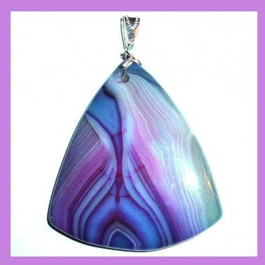 Purple & Blue AGATE Gemstone Triangle Shaped Sterling Silver Pendant