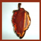 18K Yellow Gold Wrapped Brown Agate Leaf Shaped Gemstone Pendant