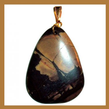 PICASSO JASPER Light & Dark Brown Teardrop Pear Cut Gemstone 10k Yellow Gold Pendant
