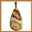 PICTURE JASPER Pear Shape Gemstone 10K Yellow Gold Pendant