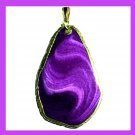 18k Yellow Gold Wrapped Violet Purple AGATE Freeform Shape Gemstone Pendant