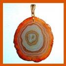 Orange & White AGATE Slice Roundish Gemstone 10k Yellow Gold Pendant