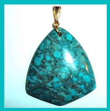 OCEAN JASPER Teal Blue Triangle Shaped Gemstone 10K Yellow Gold Pendant