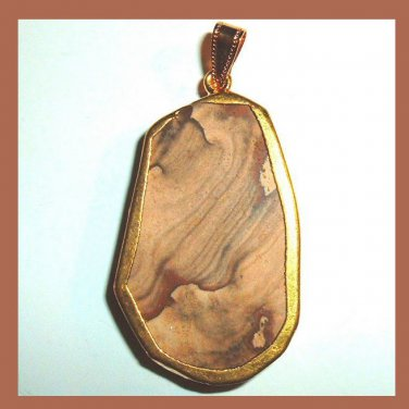 18K Yellow Gold Wrapped PICTURE JASPER Brown Tan Oval Gemstone Pendant