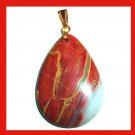 Red Gold White JASPER & PYRITE & QUARTZ Teardrop Shaped Gemstone 10K Yellow Gold Pendant