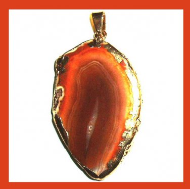 18k Yellow Gold Wrapped Orange AGATE Slice Gemstone Pendant