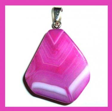 Pink White Lavender ONYX Freeform Shaped Gemstone Sterling Silver Pendant