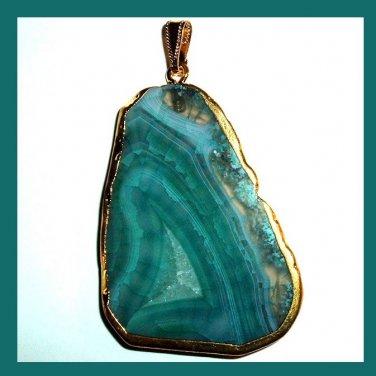 18k Yellow Gold Wrapped Blue Green AGATE Slice Freeform Gemstone Pendant