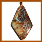 Brown & White AGATE Diamond Shape Gemstone 10k Yellow Gold Pendant