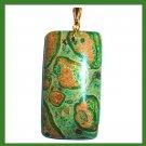 Green OCEAN JASPER Oblong Rectangle Gemstone 10k Yellow Gold Pendant