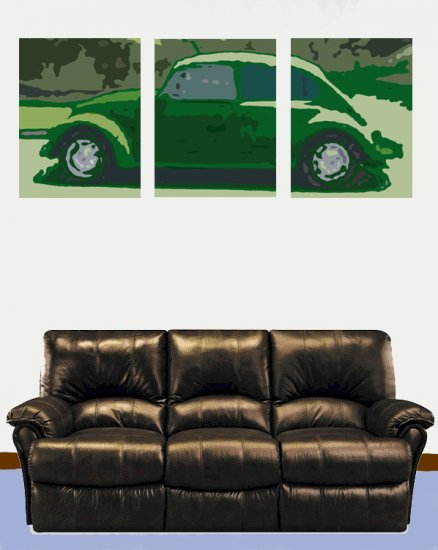Set Of Three Classic Volkswagon Beetle Acylic Pop Art Painting