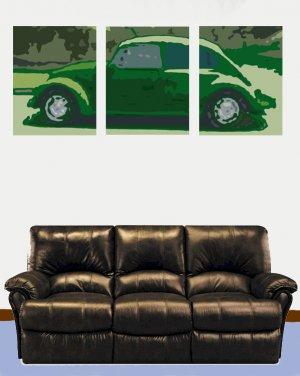 Set Of Three Classic Volkswagon Beetle Acylic Pop Art Painting