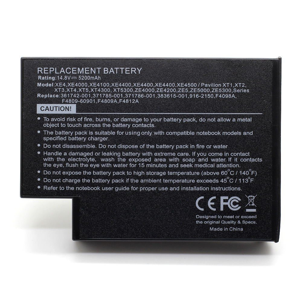 HQ-F4809 14.8V 5200 Laptop Battery for HP 113955-001, 294038-182, 319411-001 101-05060-45023