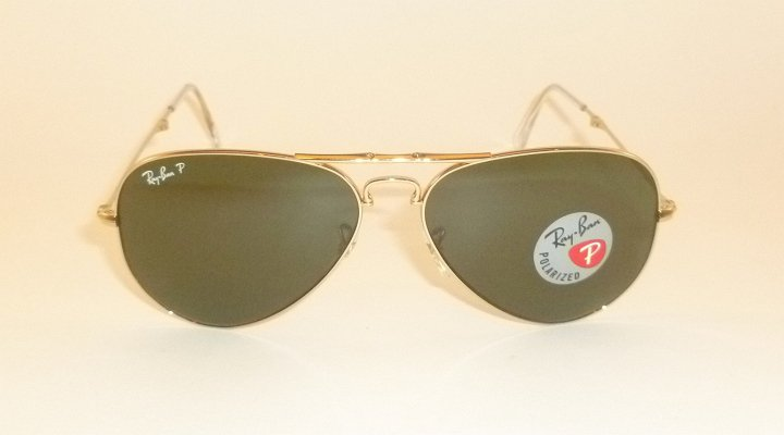 New RAY BAN  FOLDING  Aviator  Gold Frame  RB 3479 001/58  Polarized Lenses 55mm