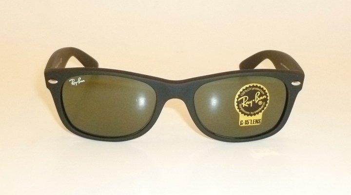 New RAY BAN Sunglasses Matte Black Rubber WAYFARER  RB 2132 622  G-15 Glass 52mm