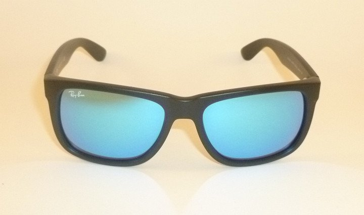 New RAY BAN  Justin Sunglasse Matte Black Rubber RB 4165 622/55 Blue Mirror 54mm