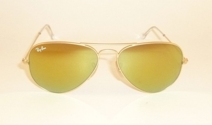 New  RAY BAN Aviator  Sunglasses  Matte Gold  RB 3025 112/93  Gold Mirror 55mm