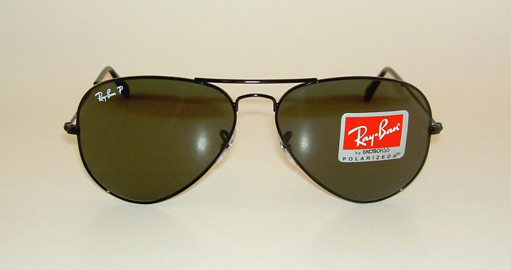New RAY BAN Aviator Sunglasses Glass Polarized Green RB 3025 002/58  Black  58mm