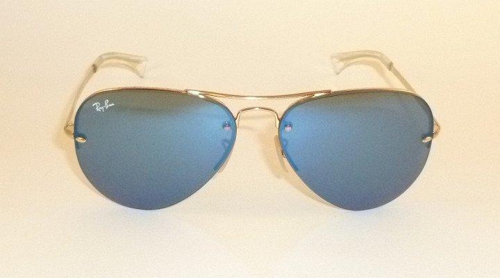 91dee1b9d8 new ray ban sunglasses aviator gold frame rb 3449 001 55 blue lenses 59mm
