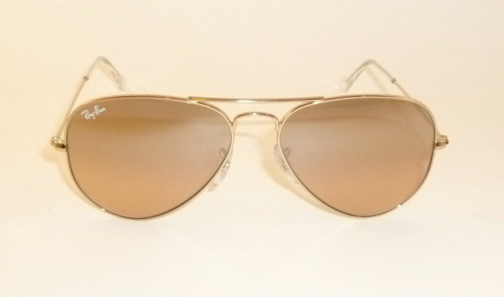 New RAY BAN Aviator Sunglasses Gold Frame RB 3025 001/3E Pink Mirror Lenses 58mm