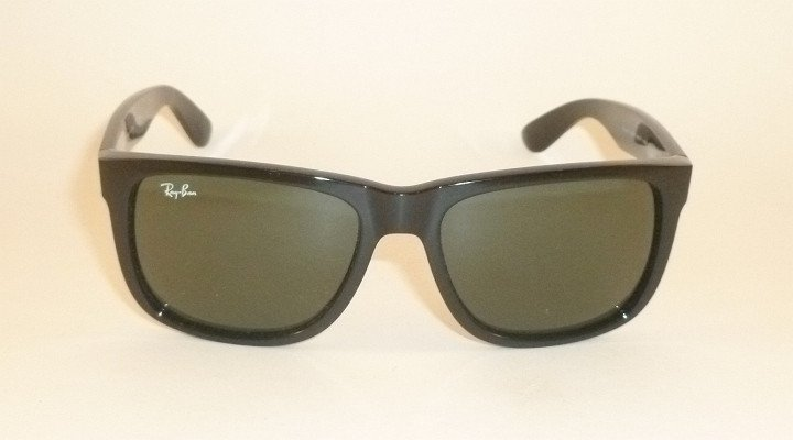 New RAY BAN Justin Sunglasses Shiny Black Frame RB 4165 601/71 Green Lenses 54mm