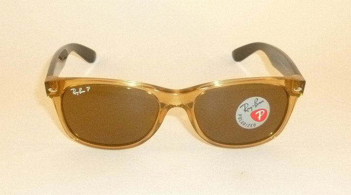 New RAY BAN  Sunglasses  Honey  WAYFARER  RB 2132 945/57  Glass Polarzed Lenses