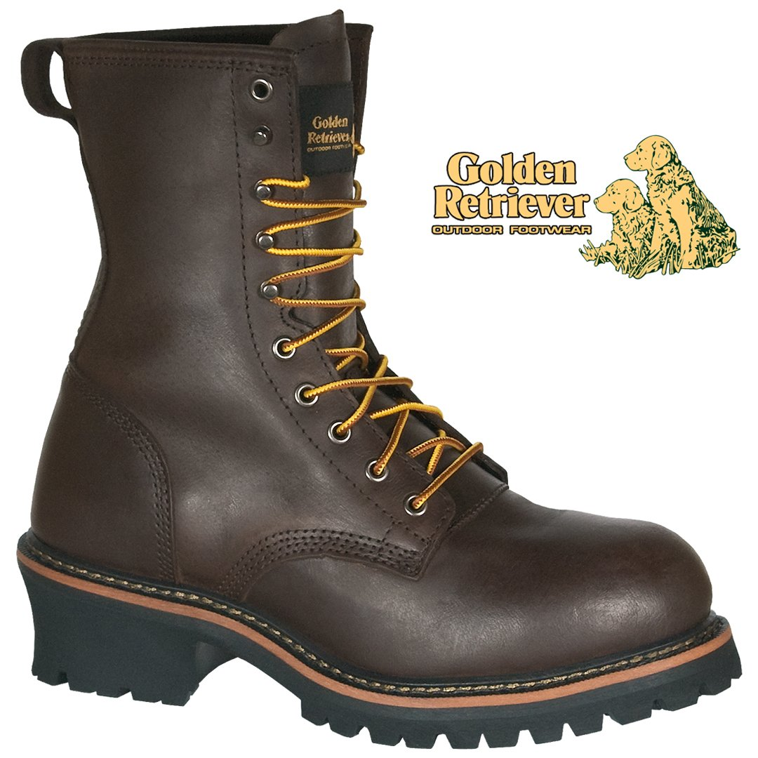 "9"" BROWN FULL GRAIN BUFFALO STEEL TOE LOGGER - 09075"