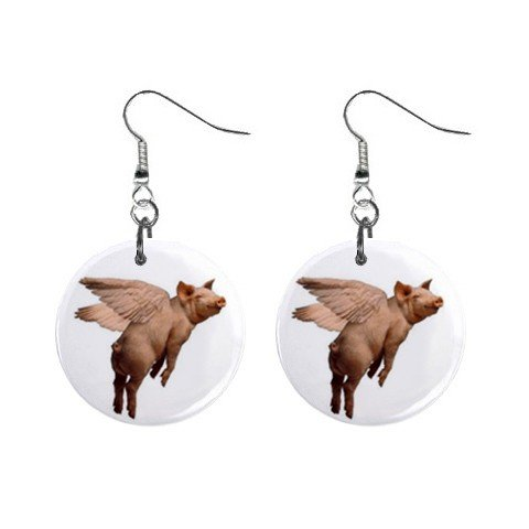 Flying Pig Dangle Earrings Jewelry 1 inch Buttons 12196781